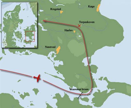 Kort over nedkastningsstedet