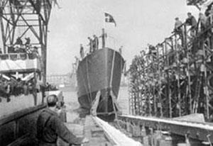 Søsætningen af Krieger 5. maj 1946 - på etårsdagen for befrielsen.
