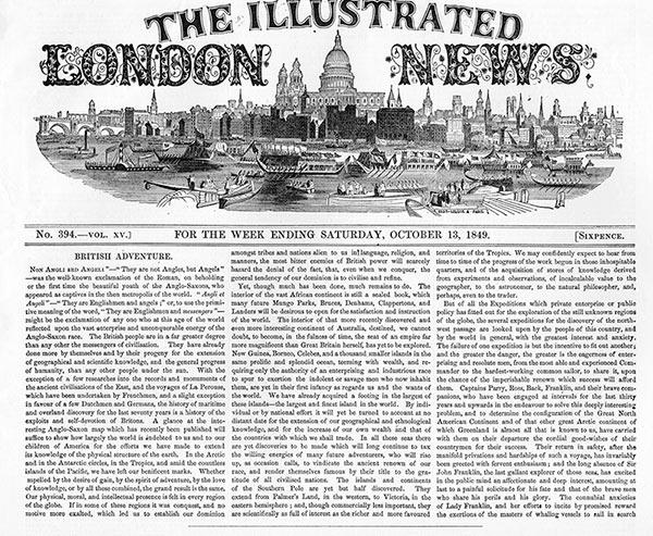 Illustrated London News fra oktober 1849. Avisen blev udgivet mellem 1842 og 2003.
