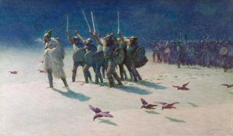 """""""The Ravagers"""", af John Charles Dollman, udstillet fra 1870 til 1912 på Royal Academy. Romantisk slut-1800-tals fremstilling af vikinger; bemærk vingerne på hjelmene. (foto: fra Wikipedia)"""
