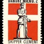 Skipper Clement. Her afbildet på et illegalt frimærke fra besættelsen.