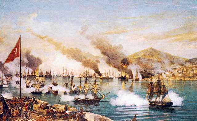 Slaget ved Navarino hvor Suenson deltog. På et af de øvrige franske skibe deltog endnu en dansk søofficer, Dockum, som senere også udmærkede sig i Krigen i 1864.