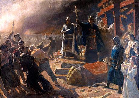 Absalon ødelægger Guden Svantevit (fra Wikipedia - maleri af Laurits Tuxen)