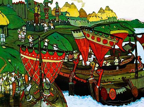 Vikingeskibe på floden Dneipr (Wikipedia)
