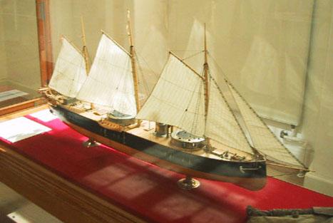 Model af ROLF KRAKE der deltog i Krigene i 1864 på Orlogsmuseet i København
