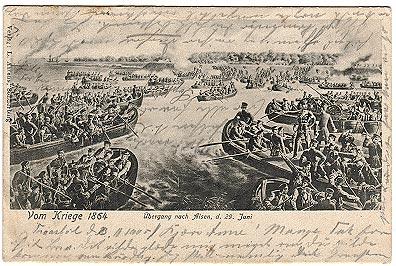 Tysk postkort der viser overgangen til Als den 29. juni i Krigen i 1864.