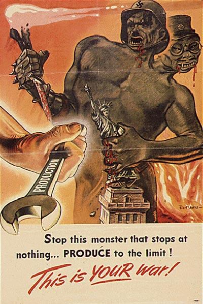 Allieret propaganda, der fremstiller tyskere og japanere som monstre