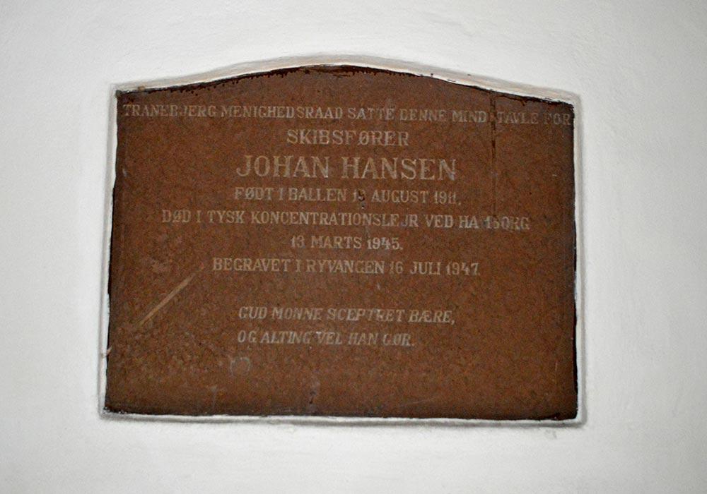 Mindetavle for Johan Hansen