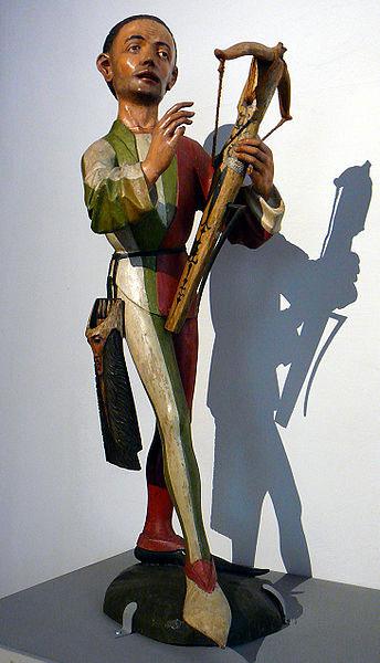 En model af en armbrøstskytte fra 1480 (Bayerisches Nationalmuseum)