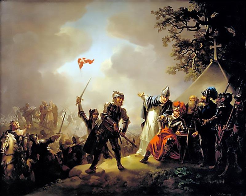 """Christian August Lorenzens maleri """"Volmerslaget"""" fra 1809 viser Dannebrogs fald i 1219. (Wikimedia Commons)"""