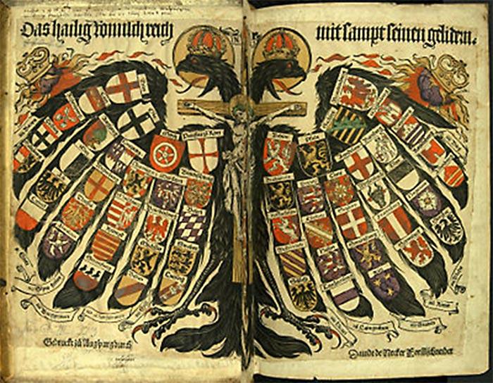 Symbolet på det Det Hellige Tysk-Romerske Imperie; den dobbelthovede ørn. (Wikipedia)