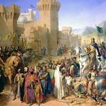 Maleri af Merry-Joseph Blondel af det muslimsk-besatte Acres overgivelse til den franske korsfarer-konge Phillip Augustus 12. juli 1191 under det 3. korstog (Wikimedia Commons)