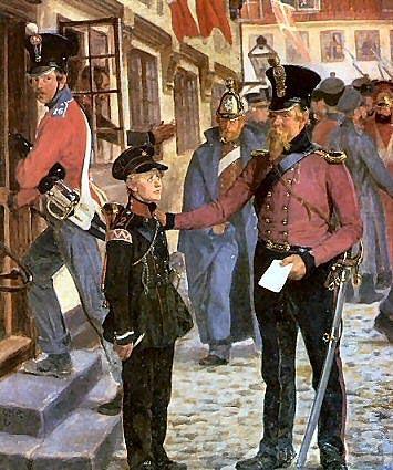 Rasmus Christiansens maleri 'Den Lille Hornblæser' fra 1894 viser trappen til Madam Esselbachs Hotel 'Stadt Hamburg' i Slesvig lige efter slaget ved Bov den 9. april 1948. Den lille hornblæser har skrevet et brev til sin mor, da en ældre artilleriløjtnant henvender sig til ham og tilbyder ham et måltid mad. Hornblæseren er i 2. Jægerkorps uniform og har underkorporalsdistinktioner på ærmet.