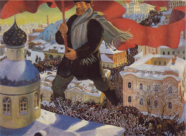 """Boris Kustodievs billede """"Bolsjevikken"""" fra 1920 (Wikipedia). Bolsjevikkerne stormede frem i 1920, og kampen mod dem tiltrak alle slags folk. Men de havde selv mange sympatisører, også blandt tropperne i Murmansk og Arkhangelsk, hvor danske lidt under 200 danske frivillige gjorde tjeneste."""