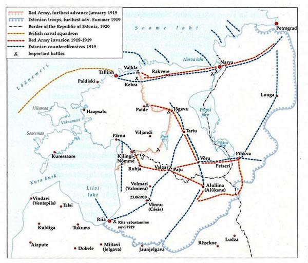 Kort over kampene i det estiske område 1919. Det danske korps indledte sin kamp ved Pihkva, der er estisk for Pskov (på tysk: Pleskau), og rykkede derefter frem efter den blå linje fra Aluksne/Aluliina til øst for Jaunjelgeva. De sidste kampe ved Ostrow foregik ca. 40-50 km syd for Pihkva/Pskov/Pleskau. Wikipedia.
