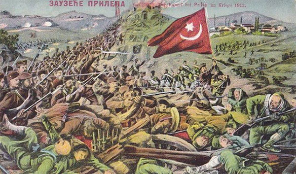 Postkort-fremstilling af Prileb-slaget i Makedonien 3. november 1912, hvor serbiske styrker drev de ottomanske styrker væk efter tre dages kampe.