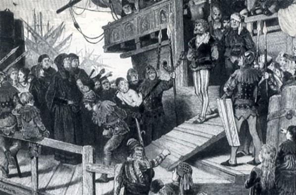 """En af Kniphofs markante forgængere udi plyndring af den hansetiske ligas rigt lastede skibe var Claus Störtebecker, der blev et kendt navn i samtiden ved plyndringer af ligaens skibe i årene 1398-1401. Havde tilholdssted i Friesland, nær den egn hvor Kniphof blev fanget, og blev ligeledes taget til fange af en flådestyrke fra Hamborg, og tilmed også henrettet i oktober (1401). Störtebecker arbejdede først som kaper for svenskerne i kampen mod danskerne. """"Einbringung Klaus Störtebekers in Hamburg"""", træsnit af Karl Gehrts 1877 fra Hamborgs stadsarkiv, Wikipedia."""
