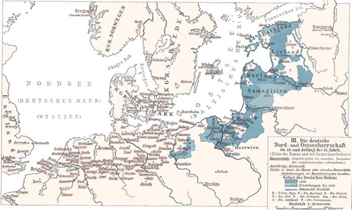 Den Tyske Ordens herredømme i Baltikum (Wikipedia). Beliggende midt i Østersøen var Gotland et vigtigt knudepunkt for handelen, og Europas største fund af arabiske mønter er da også fundet på der. Det viser øens betydning for handelen mellem Nordeuropa og Arabien via Estland, Novgorod og de russiske floder. Estland var i perioden 1219-1227 og 1238-1346 dansk, men blev købt af netop Den Tyske Orden efter et estisk oprør. Danmark deltog i øvrigt i korstog rettet mod det russisk-ortodokse Novgorod, som paven anså for kættere, men områdets beliggenhed i forhold til handelen har givet også haft betydning for det danske engagement.