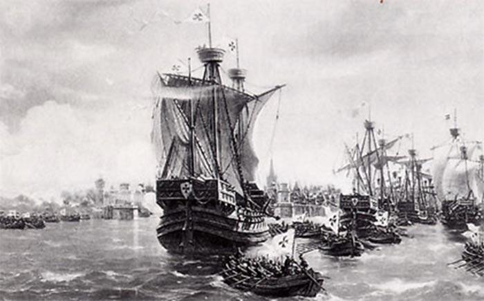 Skibe tilhørende Den Tyske Orden. Adskillige af Den Tyske Ordens byer, som Danzig, Königsberg m.fl., var medlem af Den Hanseatiske Liga, der dominerede handelen i Nord- og Østersøen, lige som Stormesteren af orden var selvstændigt medlem. Som korsfarerorden med rødder i Det Hellige Land gav Ordenen ligaen prestige og kunne militært beskytte handelen, og, i takt med erobringerne, udvide handelsområdet. En udvidelse af magtsfæren til også at omfatte handelsknudepunktet Gotland var logisk, men Margrethe 1. stod i vejen.