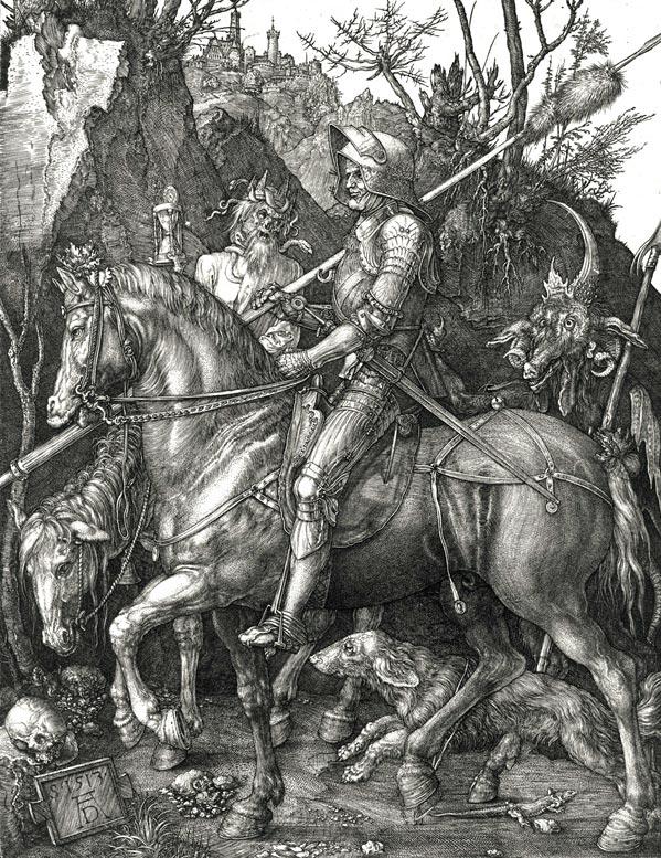 """Albert Dürers billede """"Ritter, Tod und Teufel"""", 1513. Middelalderens krige blev primært ført af lejesoldater, der ofte var dygtige og effektive soldater. Men de var også berygtede for deres grovhed og brutalitet, og blev ofte betalt med retten til at plyndre og hærge byer. Det fik særligt Fyns indbyggere at mærke i 1535."""