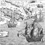 Københavns belejring 1535-36, der fulgte umiddelbart efter Johann Rantzaus sejr ved Øksnebjerg på Fyn 11. juni 1535, afsluttede konflikten. Flåden, der indesluttede København, hvor borgmester Ambrosius Bogbinder nægtede at kapitulere indtil 22. juli 1536, kom direkte fra en sejr i et slag der også foregik i det fynske, slaget i Svendborgsund 16. juni 1535, hvor en flåde fra Lübeck blev ødelagt. Billede fra 1879, baseret på kobberstik fra 1599 (Wikipedia).