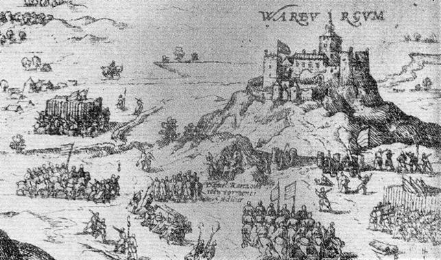 Varberg fæstning ved kapitulationen til danske tropper i 1559, af Franz Hogenberg (1535-1590)