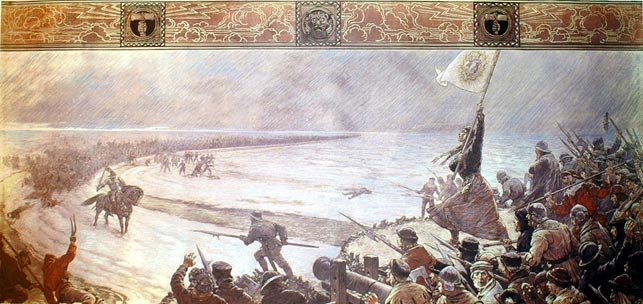 """""""Schlacht bei Hemmingstedt"""", Max Friedrich Koch, 1910 (WikiCommons). Ditmarskerne spærrer vejen for den danske hær."""