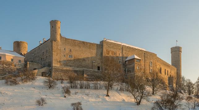 Borgen i Tallinn, hvorfra det danske herredømme i hertugdømmet Estland blev administreret. Borgens nuværende udformning stammer primært fra en ombygning foretaget efter 1227 af Sværdbrødreordenen (Ivar Leidus/Wikipedia).