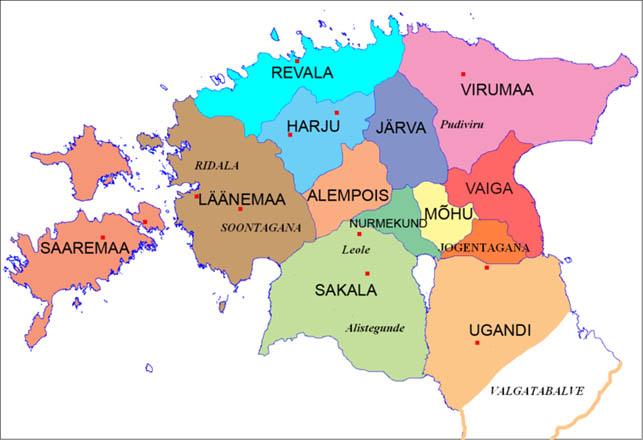 """Den danske tilstedeværelse i Estland var stærkest i Reval og Virumaa, og var bestemt ikke uden konkurrence. Allerede på tiden for slaget ved Lyndanisse i 1219 var biskoppen af Dorpa en magtfaktor med egne militære styrker med base i Vaiga. Og Sværdbrødreordenen trængte mod nord fra Sakala og Ugandi. I 1225 måtte pavens udsending til Estland - kaldet """"Terra Mariana"""", (Jomfru) Marias land - Wilhelm af Modena, mægle i stridigheder om fordeling af territorie mellem Sværdbrødrene og danskerne i Reval (Wikipedia)"""