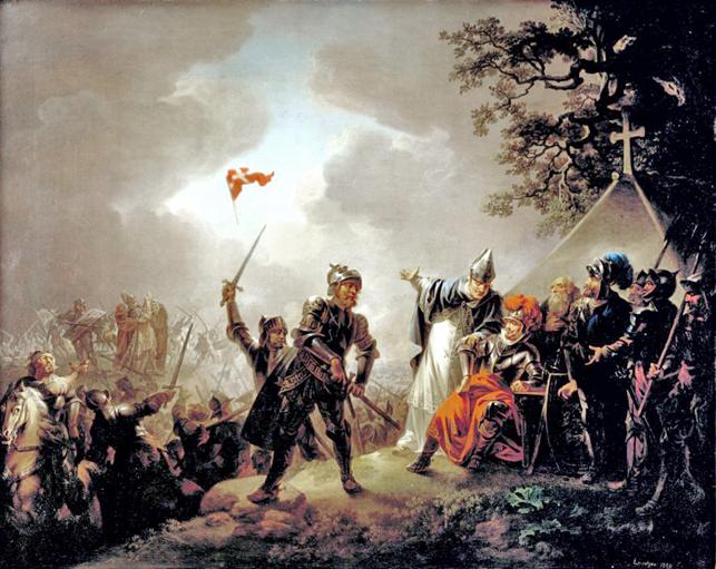 Efter et frugtesløst felttog i Polen i 1210 rettedes det danske blik mod Estland. Slaget ved Lyndanisse i 1219, hvor Dannebrog hævdedes at falde ned fra himlen som et tegn fra Gud, var ikke afslutningen på et succesrigt felttog, men begyndelsen på en krig, hvor danskerne for det meste var i defensiven. Billede af Christian August Lorentzen, 1809, Statens Museum for Kunst (Wikipedia).