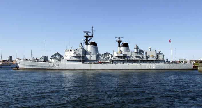 Fregatten Peder Skram var tiltænkt rollen som kommandoskib i Operation Hurricane. Foto: koldkrig-online.dk 2016.