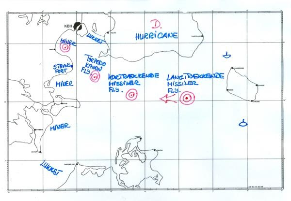 Operation Hurricane udføres i takt med at den fjendtlige invasionsflåde nærmer sig Sjælland. Tegning: Pensioneret kommandør Axel Fiedler og www.danmarkidenkoldekrig.dk (vises med tilladelse fra Axel Fiedler).
