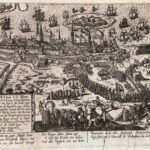 Belejringen og angrebet på Stralsund, 1628, af Franz Hogenberg (ca.) 1630. Angrebet stod på i mere end 10 uger fra midt maj til starten af august 1628. Den succesrige feltherre Albrecht Wallenstein, der kæmpede for den strengt katolske tysk-romerske kejser Ferdinand II, måtte for en gangs skyld give fortabt til en højst usædvanlig kombineret dansk-svensk styrke (Wikipedia)
