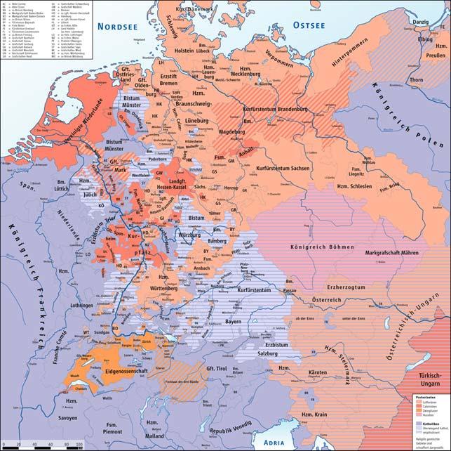 Oversigt over katolsk og protestantisk dominerede områder i det centrale Europa. Chr. IV led et afgørende nederlag til katolikkerne lidt sydøst for Hannover i Lüneburg i 1626, måtte tåle at miste Jylland til en katolsk besættelseshær indtil 1629, og kæmpede inden da en fælles kamp med den svenske konge for at holde Stralsund i Vorpommern (Wikipedia).