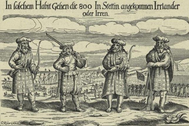 Skotske soldater 1631 (her dog kaldet irere) fra Donald Mackay, Lord Reay's regiment. I 1628 var de i dansk tjeneste, men da Chr. IV trak Danmark ud af 30- års krigen gik de i Gustav Adolphs tjeneste. Det menes, at op mod 50.000 skotter deltog i krigen på protestantisk side, typisk i særlige skotske enheder (Wikipedia).