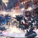 W. Jefferys maleri (Wikipedia) af canadisk-britiske soldater i kamp med angribende amerikanere under snestorm i Quebecs gader. Det amerikanske angreb havde til hensigt, at vinde canadierne over på amerikansk side i oprøret mod briterne. Angrebet blev en total fiasko, og de fleste angribere blev fanget, herunder Fibiger.