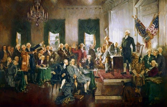 """""""Scene of the Signing of the Constitution"""", 1940, Howard Chandler Christy, The Indian Reporter (Wikipedia). Rige, hvide mænd grundlagde Amerikas Forenede Stater, og drengen fra Fåborg endte sine dage, i kraft af sin velstand og krigsbedrifter, som respekteret medlem af den unge stats elite."""