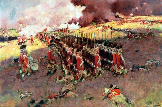 """""""Bunker Hill"""" af Howard Pyle, fra 1897 (Wikipedia). Britiske rødfrakker marcherer op ad højen, hvor Fibiger befandt sig under en del af slaget, under de amerikanske oprøreres beskydning. Det britiske angreb havde til hensigt, at løsne amerikanernes belejring af britisk-kontrollerede Boston. Højen blev først indtaget efter 3 overraskende blodige angreb."""