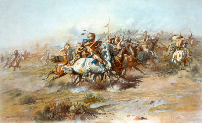 """""""The Custer Fight"""" af Charles Marion Russel, 1903 (Wikipedia). Kampen ved Little Big Horn var blot et af mange sammenstød mellem den amerikanske hær og en alliance af Sioux, Cheyenne og (Dakota) Lakota-krigere. Chris ankom til Amerika netop som krigen, """"The Great Sioux War"""", brød ud og deltog som soldat i den sidste og afgørende del af felttoget."""