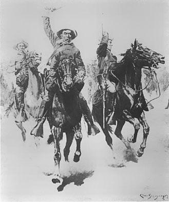 """v.: En kunstnerisk fremstilling af Løjtnant Schwatkas og 25 kavaleristers storm på indianerlejren ved Slim Buttes, """"guns blazing"""" for at sprede forvirring og erobre hestene. 100 soldater havde inden da omringet lejren."""