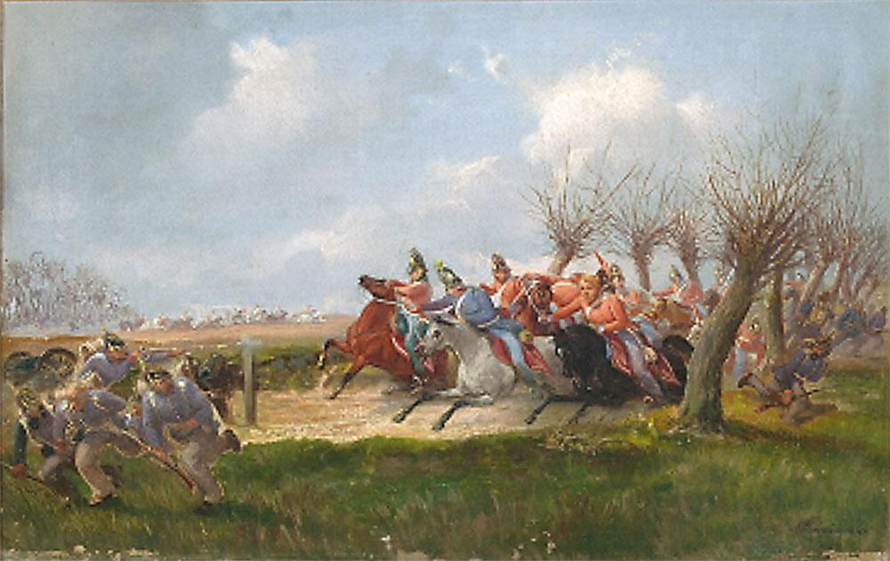 Maleri af Niels Simonsen: Episode af Slaget ved Slesvig. Illustration: Sønderborg Museum