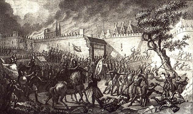 Tsar Ivan IV's belejring og erobring af Narva i 1558 fra april til juli. Af Boris Chorikov, 1836 (Wikipedia). Krigslykken vendte dog og svenskerne generobrede byen i 1581.