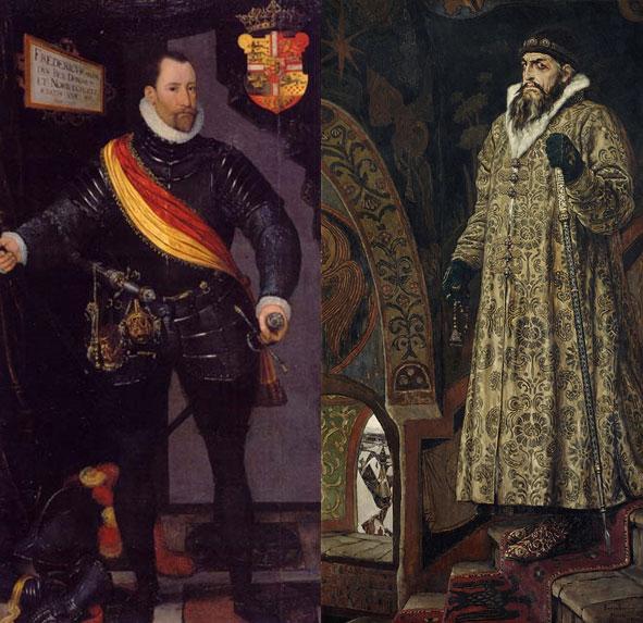 Kong Frederik II (portræt af Hans Knieper el. Melchior Lorck 1581, Wikipedia) og tsar Ivan IV (portræt af Viktor Vasnetsov 1897) blev enige om at hjælpe hinanden i kampen på Østersøen mod de fælles fjender.