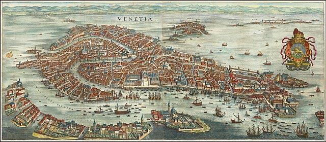 Oversigtsbillede af Venedig fra 1636 af Matthäus Merian. Vore dages turistby er i dag kun en skygge af sin tidligere storhed; i flere århundreder var Republikken Venedig en stor handelsstat og politisk stormagt i Middelhavet