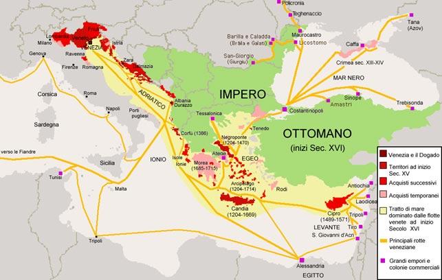 Oversigtskort (Wikipedia) over Republikken Venedigs territorier da det var størst, og Osmannerrigets territorier i 1500-tallet. Cort Adelers krigsskueplads var Ægæerhavet, hvor forsyningsture til Candia/Kreta, togter mod tyrkiske støttepunkter på den græske østkyst og Rodi/Rhodos og kampe ved Dardanellerstrædet gav Cort stor militær erfaring.